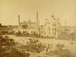 No. 15. Right mosque, in the garden of the Cha[page torn] showing the Jumma Musjid (or ch[urch in the] religion of the place) at Lucknow.